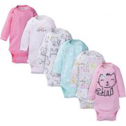 Baby Girl Long Sleeve Kitty Bodysuits - pack x6