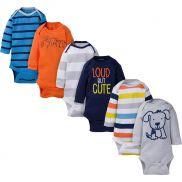 Baby Boy Navy & Orange Long Sleeve Bodysuits - pack x6