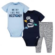 Baby Boys Large Dinos Bodysuits and Pant Set x3
