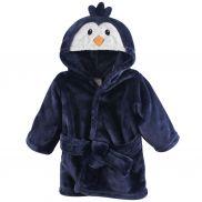 Bata de baño en felpa pingüino azul